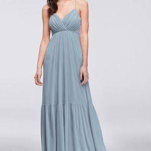 David's Bridal Bridesmaid Dress Dusty Blue
